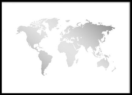 World map in silver on white background this poster looks good world map in silver on white background this poster looks good together with other gold and silver posters or why not combine with a poster of your gumiabroncs Image collections