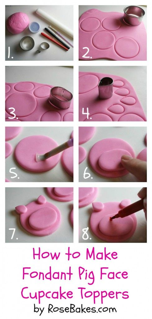 How To Make Fondant Pig Face Cupcake Toppers Cake Decorating