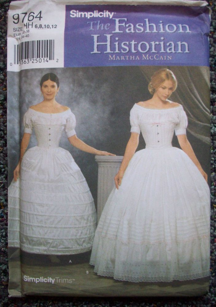 Historian Pattern 9764 Civil War Hoopskirt Petticoat Costume Sz 6 8
