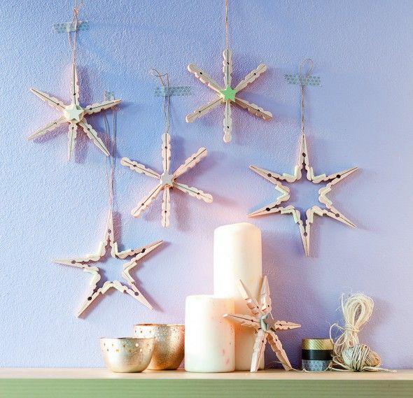 Weihnachtssterne aus w scheklammern weihnachten pinterest - Wascheklammern dekorieren ...
