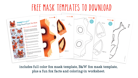 Our Download Also Includes A Black And White Fox Mask Template To Color In,  Plus  Free Mask Templates