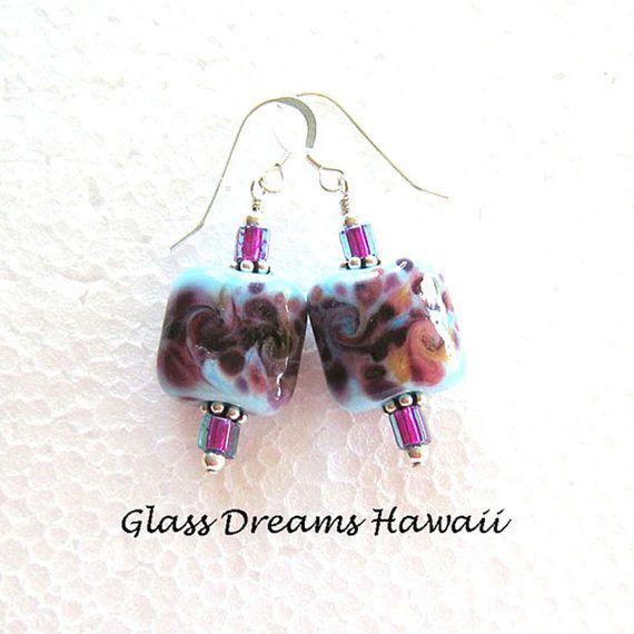 Lampwork Glass Dangle Earrings Handmade by GlassDreamsHawaii