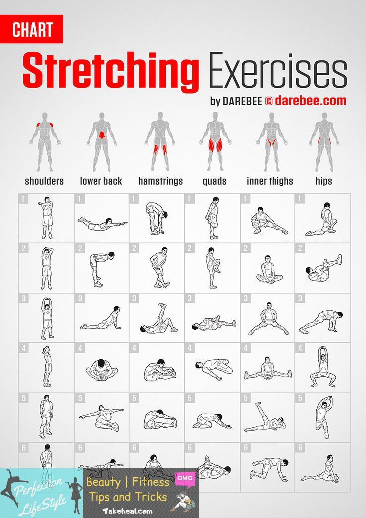 Stretching Exercises | Chart by DAREBEE #darebee #fitness #workout #stretching #...