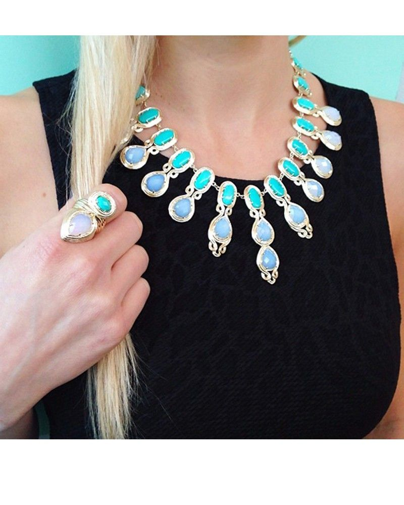 Whitney Statement Necklace in Teal Mosaic Kendra Epic Wish List