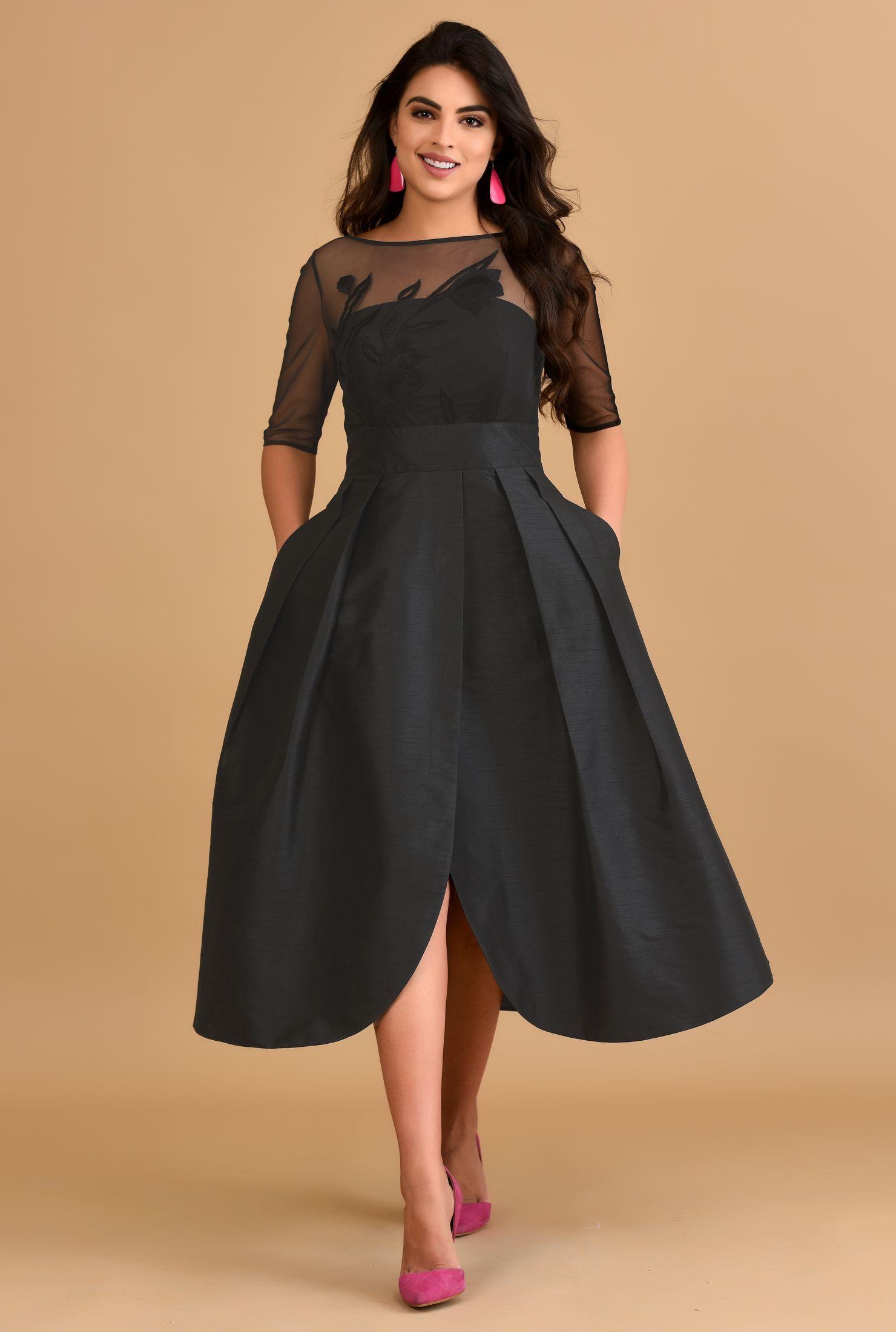 Back Zip Dresses Black Dresses Boat Neck Dresses Dry Clean Dresses Elbow Length Sleeve Dre Custom Dresses Fashion Clothes Women Elbow Length Sleeve Dress [ 2200 x 1480 Pixel ]