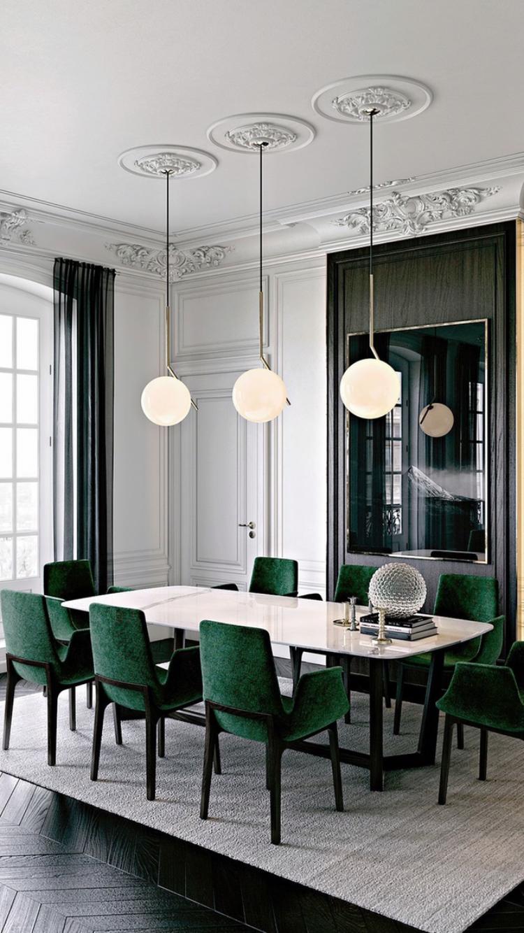 modern green dining chairs bistro style this flooring is everything sleek black herringbone wood tile and velvet