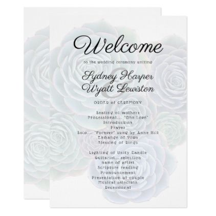 Welcome Succulent Wedding Ceremony Program Wedding Invitations