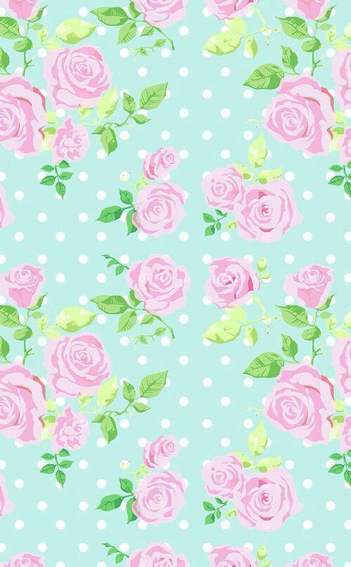 Mint Vintage Floral Dots Phone Iphone Wallpaper Background