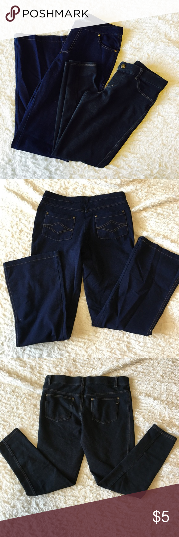 Jegging Pants First Jean: Brand-Pajama Pants - Size S/M- Great Condition-Bootcut Style • Second Jean: Jegging Jeans• NY& Co-Size M- Good Condition• Both Dark Denim• Machine wash Cold• Tumble Dry Low• Pants Leggings