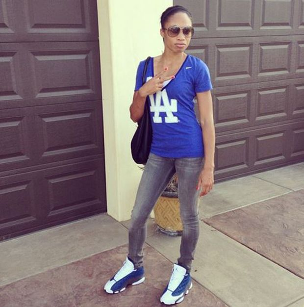 "sports shoes d2b23 500b3 ... Feet Olympian Allyson Felix in the Air Jordan 13 ""Flint"" ..."