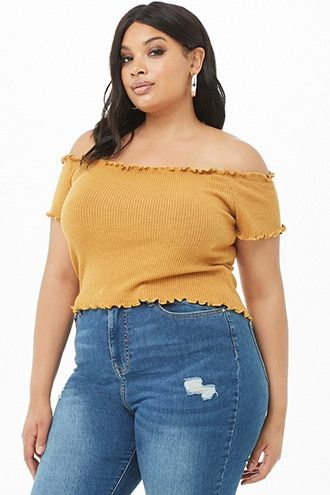 1e91ebebbb8 Plus Size Off-the-Shoulder Lettuce-Edge Crop Top | Products | Tops ...