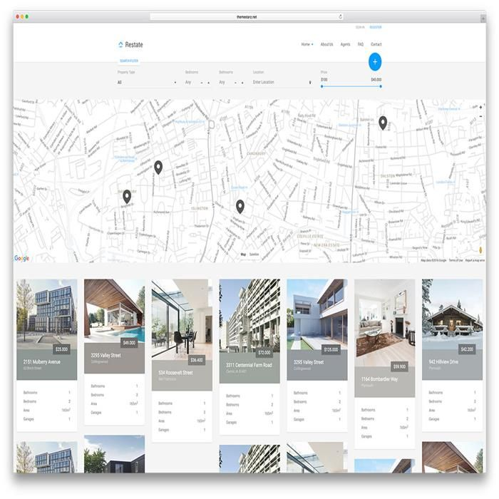 Example Site Map Location: Restate Minimal Google Map Html Real Estate Template