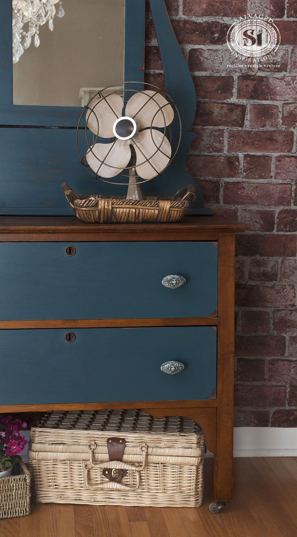 Blue Painted Stained Antique Dressser W Mirror