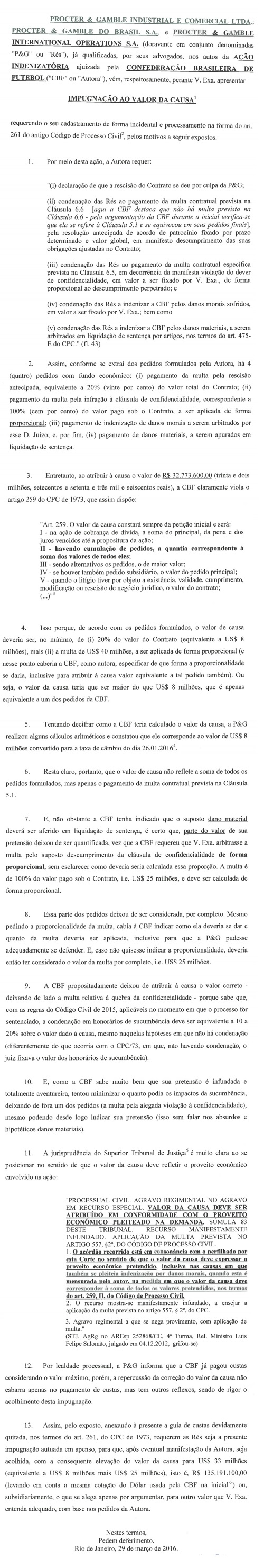 Petição em que P&G calcula o valor da causa como sendo superior a R$ 135 milhões