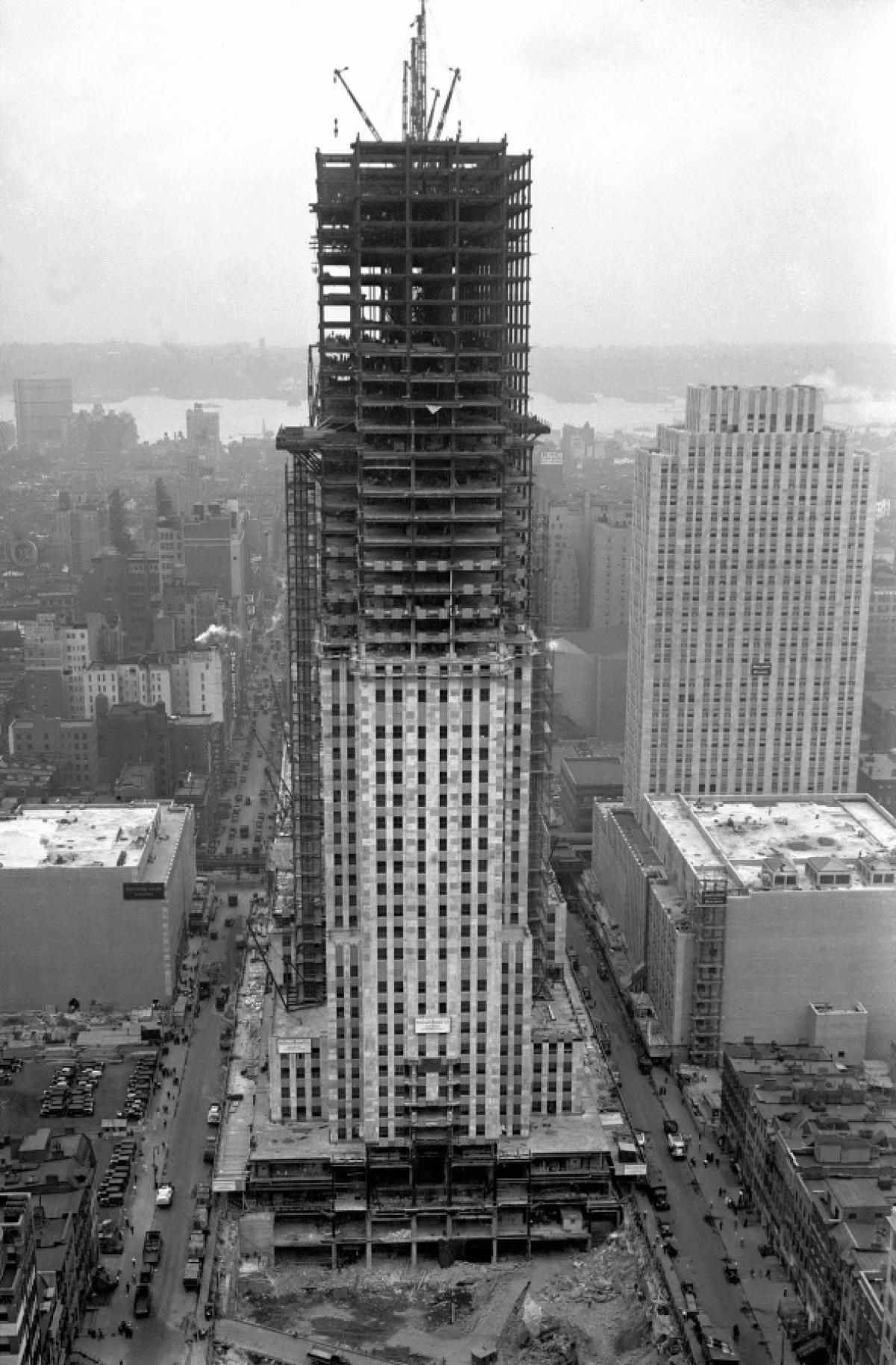 The Rockefeller Center is pictured under construction in 1932. The New York City icon was completed in 1939.