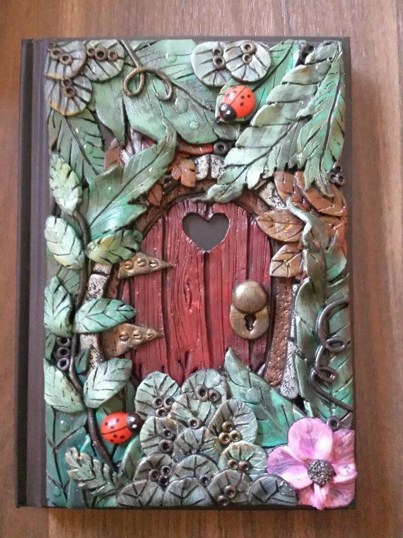 Book Cover Craft Projects : A fairy door polymer clay journal notebook by heather s