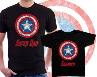 a637cd36 Super papá y compañero coincidencia de camisetas por BestTeeShirts Papá  Estupendo, Playera Capitan America,