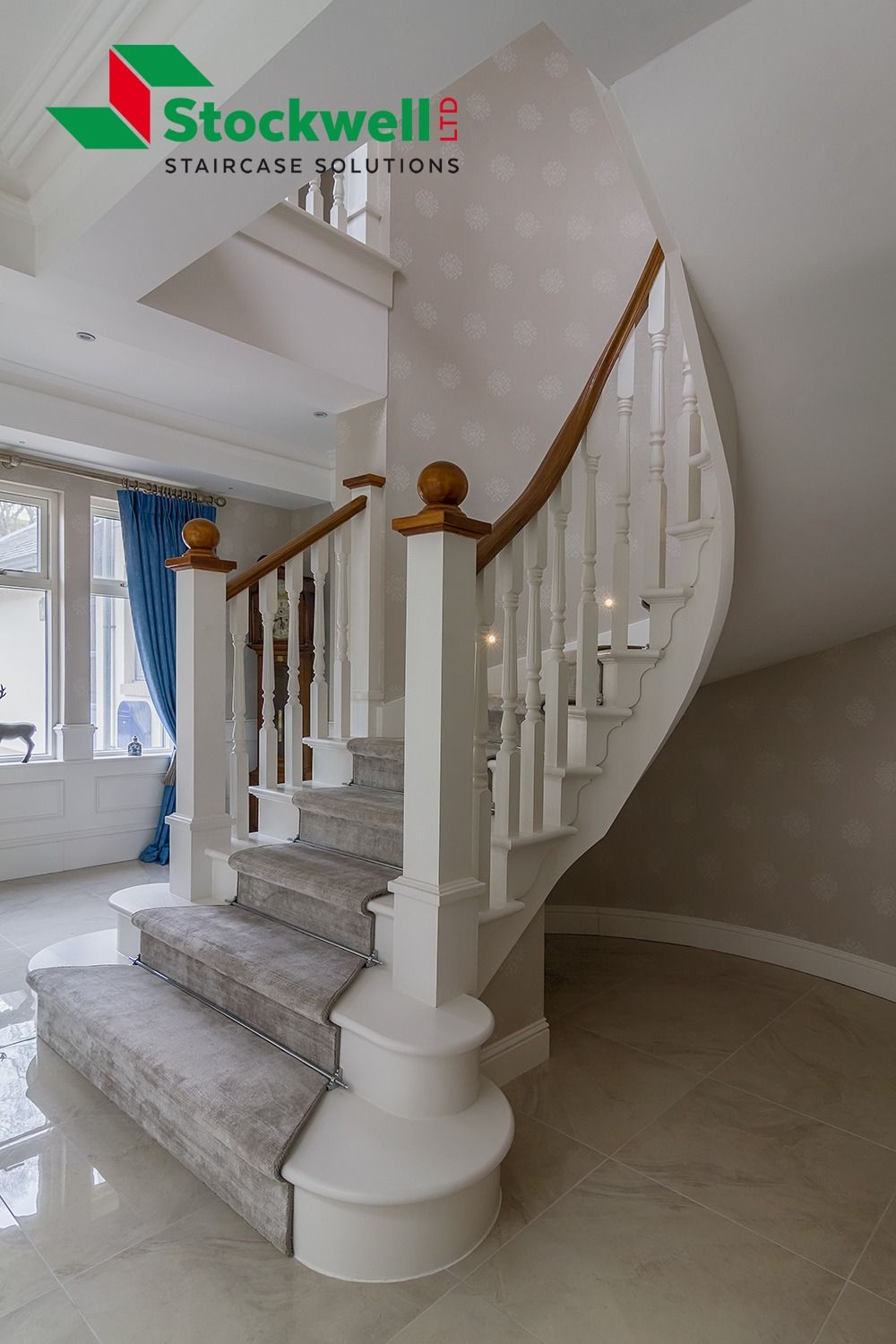Best A Painted Curved Staircase With A Carpet Runner Capes And 400 x 300