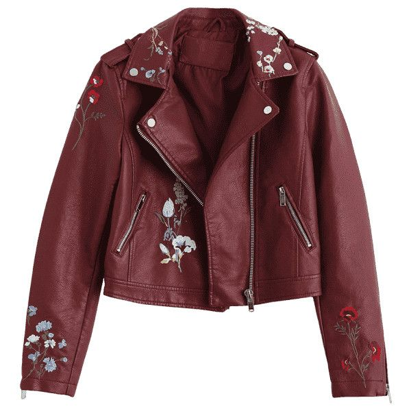 Floral Patched Zippered Faux Leather Jacket (98.500 COP) ❤ liked on Polyvore featuring outerwear, jackets, tops, zipper jacket, red zip jacket, floral faux leather jacket, floral jacket and faux-leather jacket