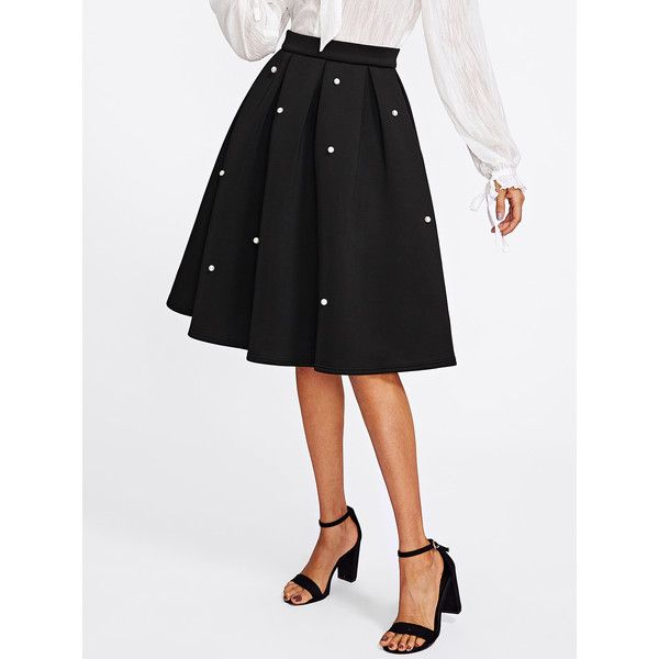 77c2095c05 SheIn(sheinside) Pearl Embellished Boxed Pleated Circle Skirt ($18) ❤ liked  on Polyvore featuring skirts, black, flare skirts, knee length circle skirt,  ...