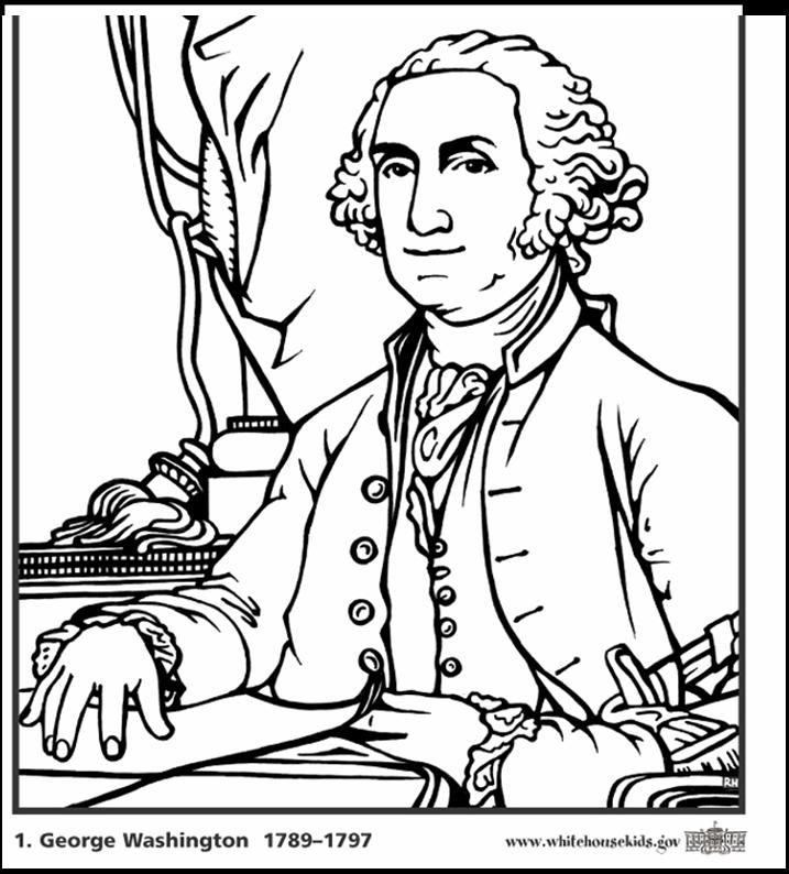 Presidents Day George Washington Coloring Page