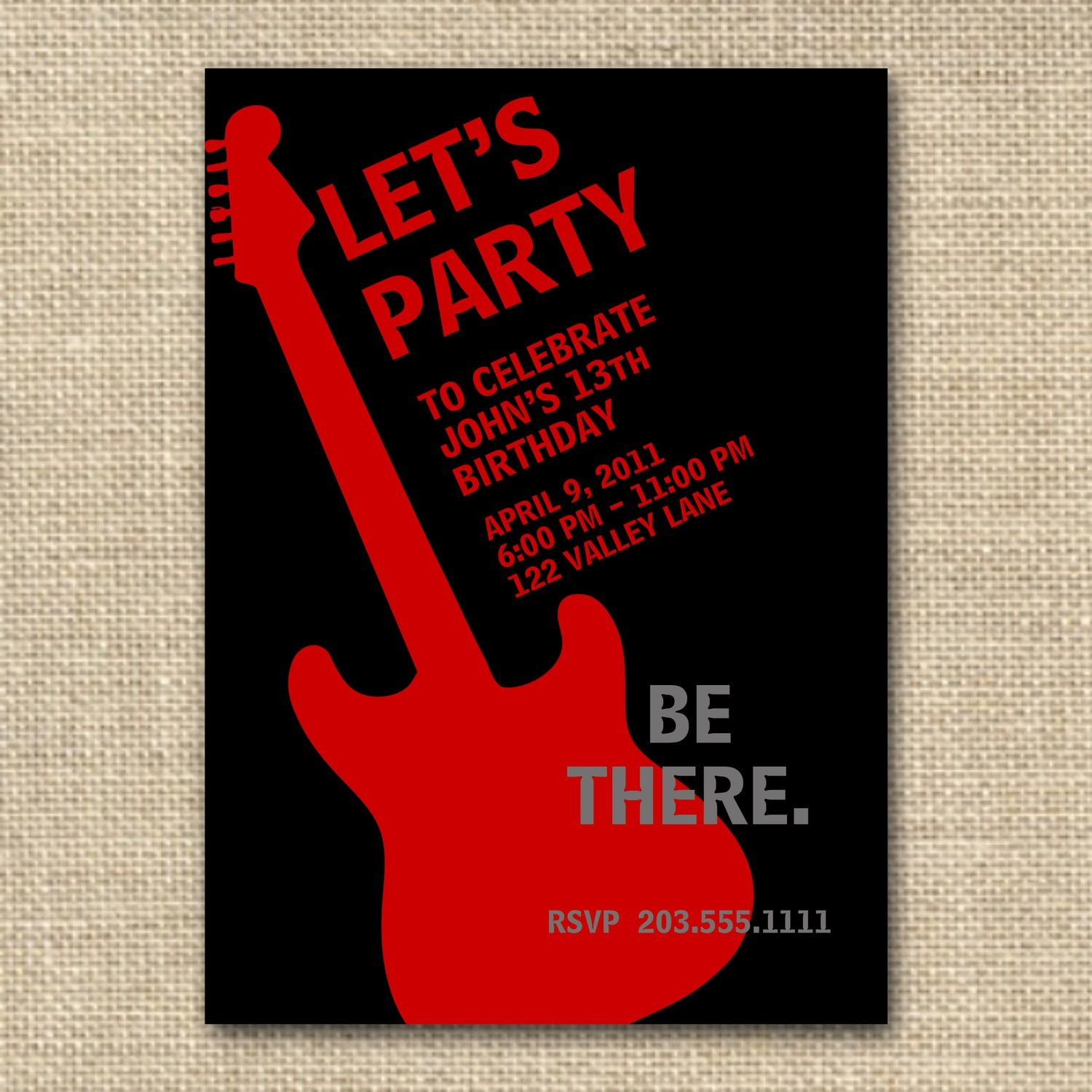 Rock N Roll Birthday Boy Invitation13 or by fancyshmancynotes ...