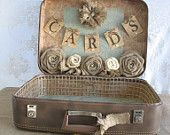 Vintage Suitcase Wedding Card Holder Shabby Chic Wedding Rustic Country Wedding #vintagesuitcasewedding