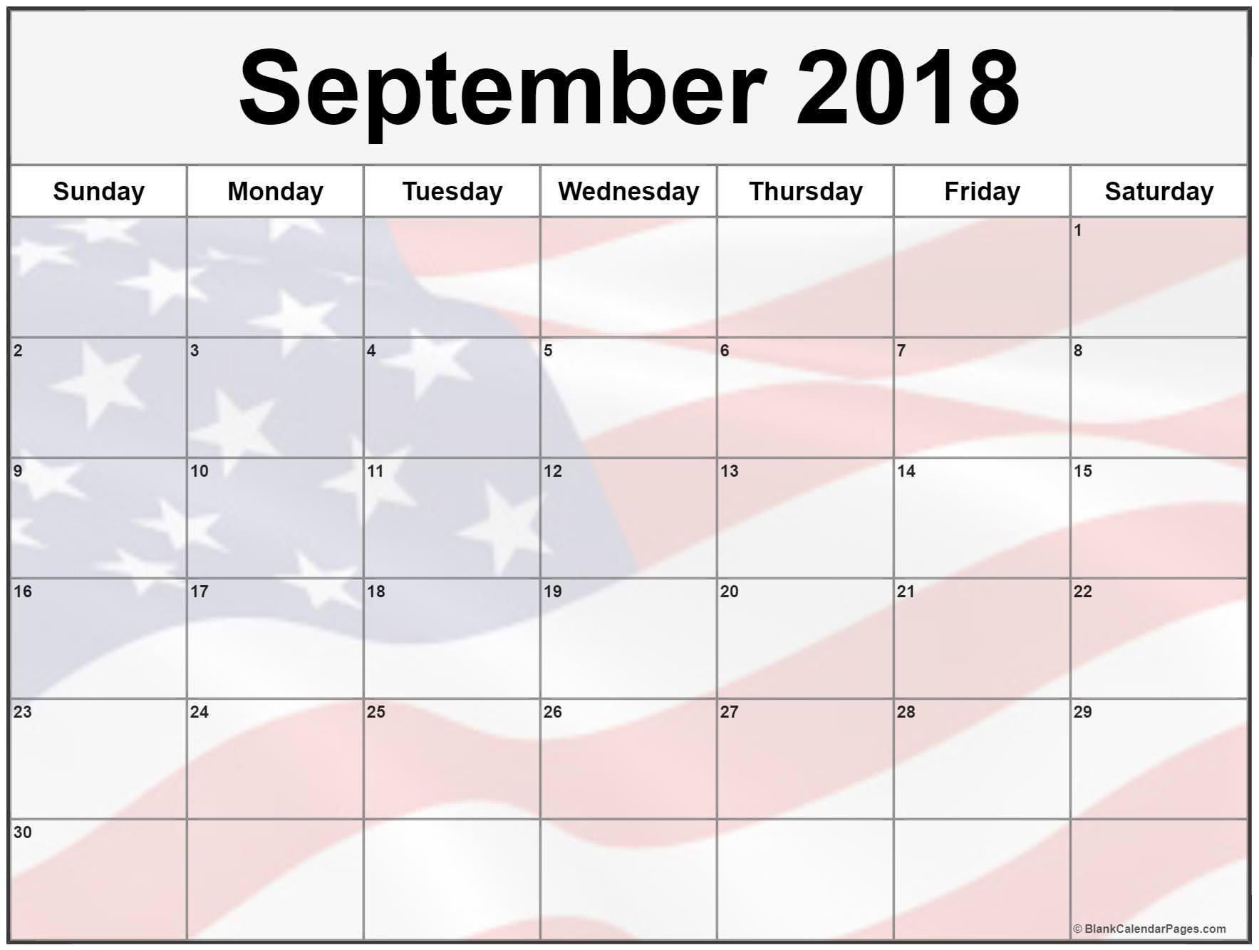 September Calendar 2018 Printable Blank Calendar With US