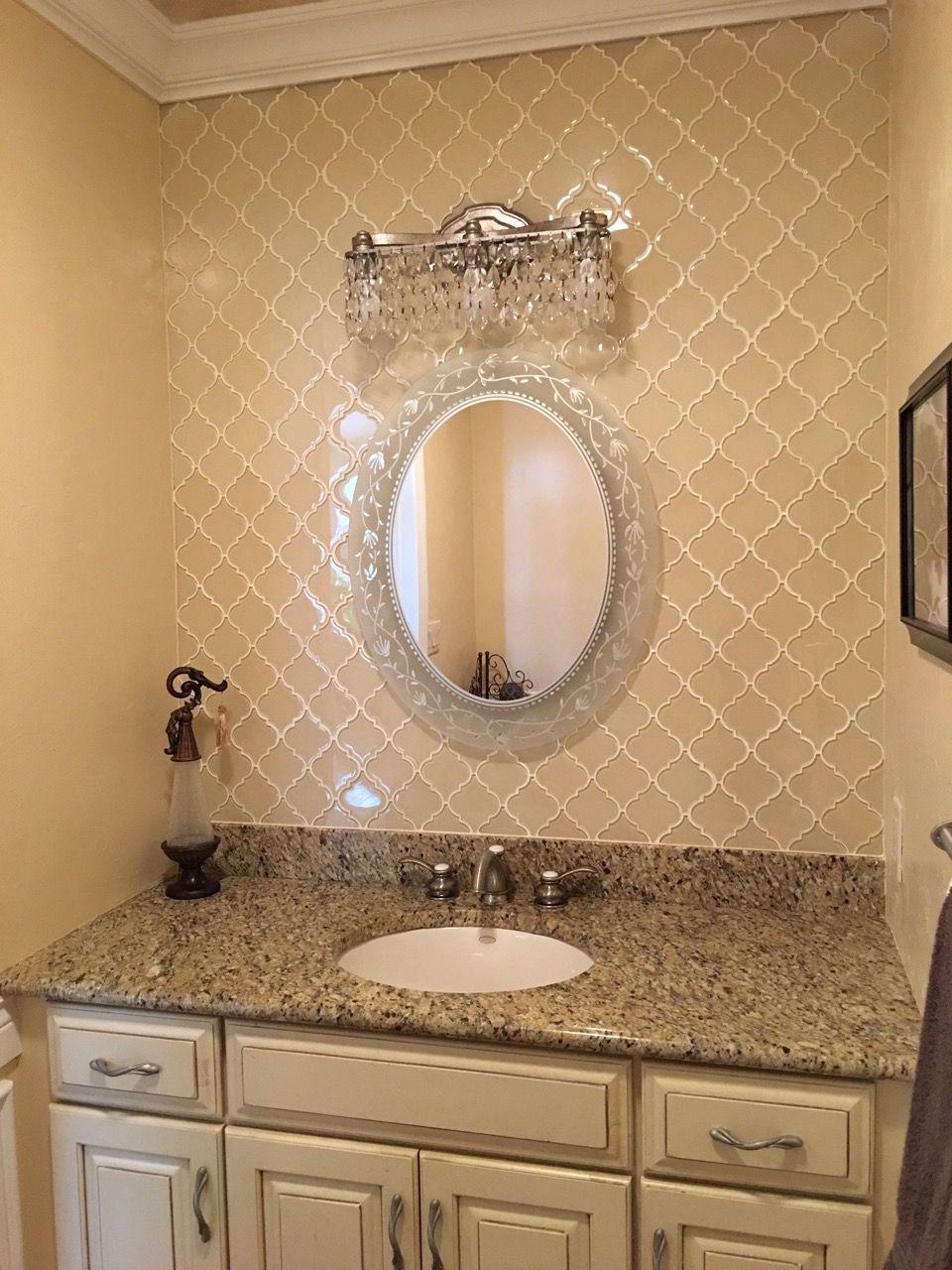 Cream Arabesque Glass Tile Glass Tile Bathroom Vanity