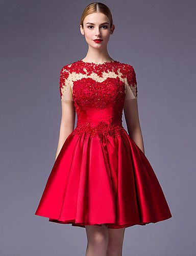 99 99 Ball Gown Jewel Neck Knee Length Satin Dress With Beading