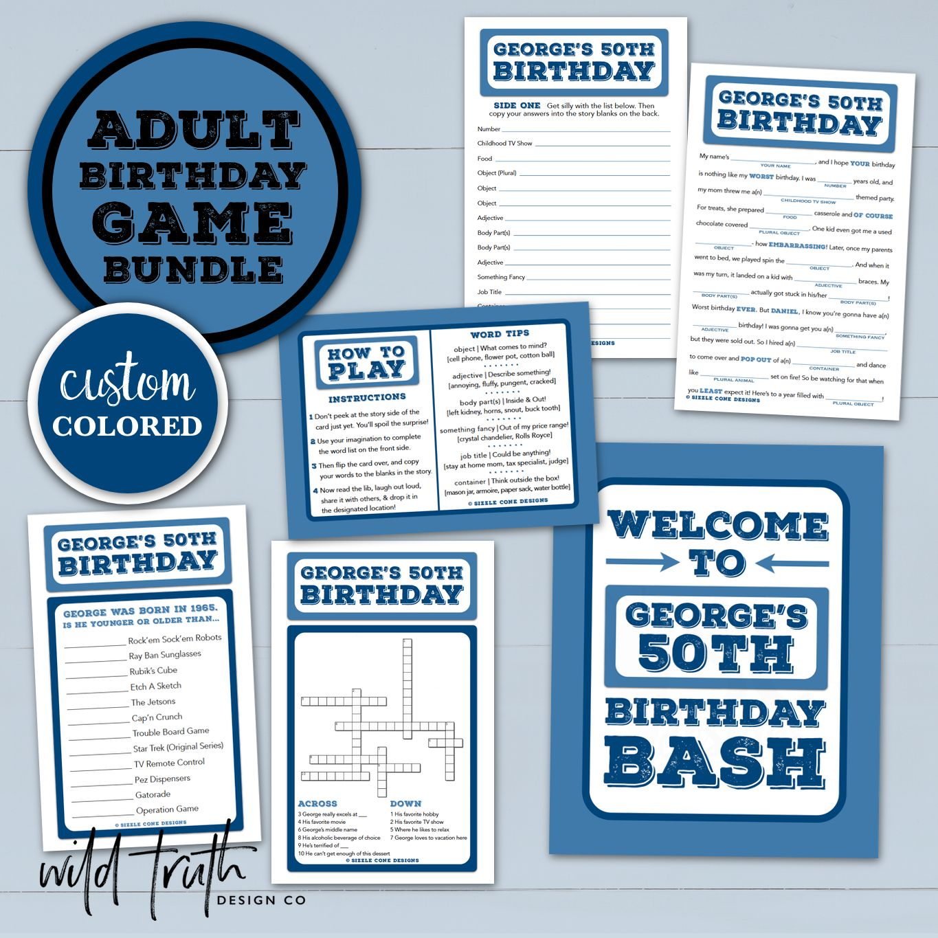 Custom Birthday Game Bundle For Adults Mad Lib Crossword Amp Younger Or Older Sign