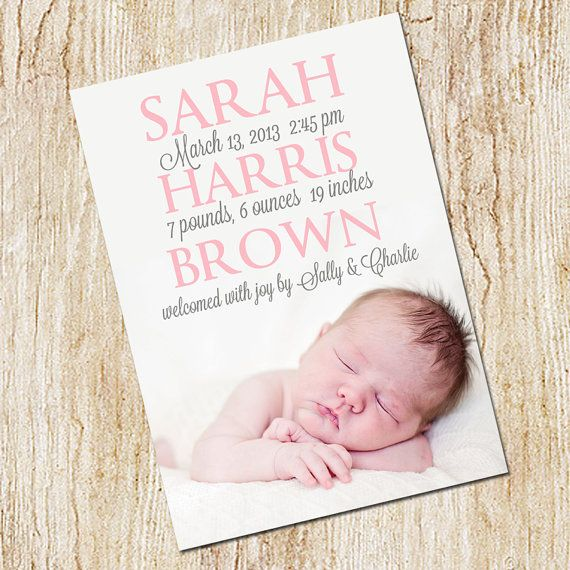photo birth announcement card digital file girls by peachymommy