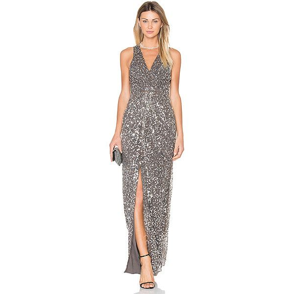 X by NBD Genevieve Gown ($325) ❤ liked on Polyvore featuring dresses, gowns, sequin dresses, sequin gown, empire waist dresses, empire waist gown and sequin evening gowns