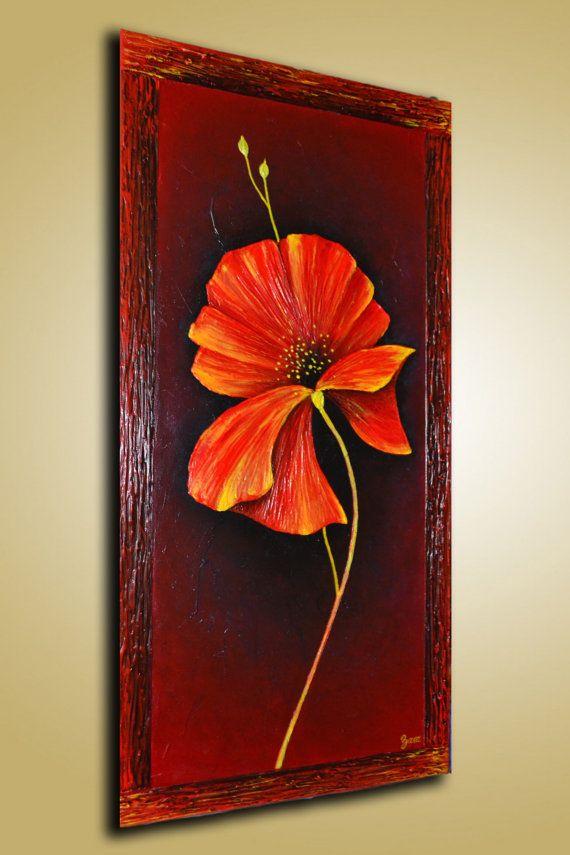 Uno de un tipo empaste abstracto original textura pintura de flor de ...