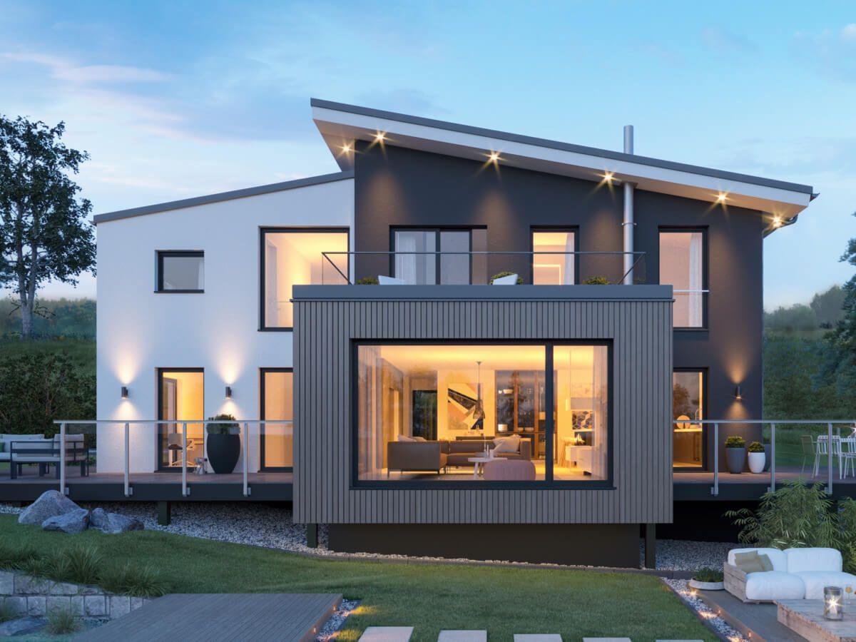 Einfamilienhaus architektur modern mit pultdach versetzt for Haus anbau modern