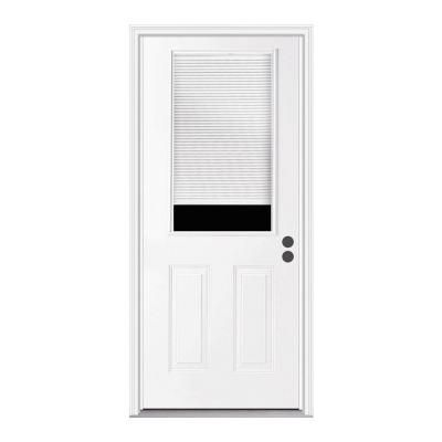 Jeld Wen 32 In X 80 In 1 2 Lite Primed Steel Prehung Left Hand Inswing Back Door W Brickmould Thdjw184700032 The Home Depot Entry Doors Steel Entry Doors Steel Doors Exterior