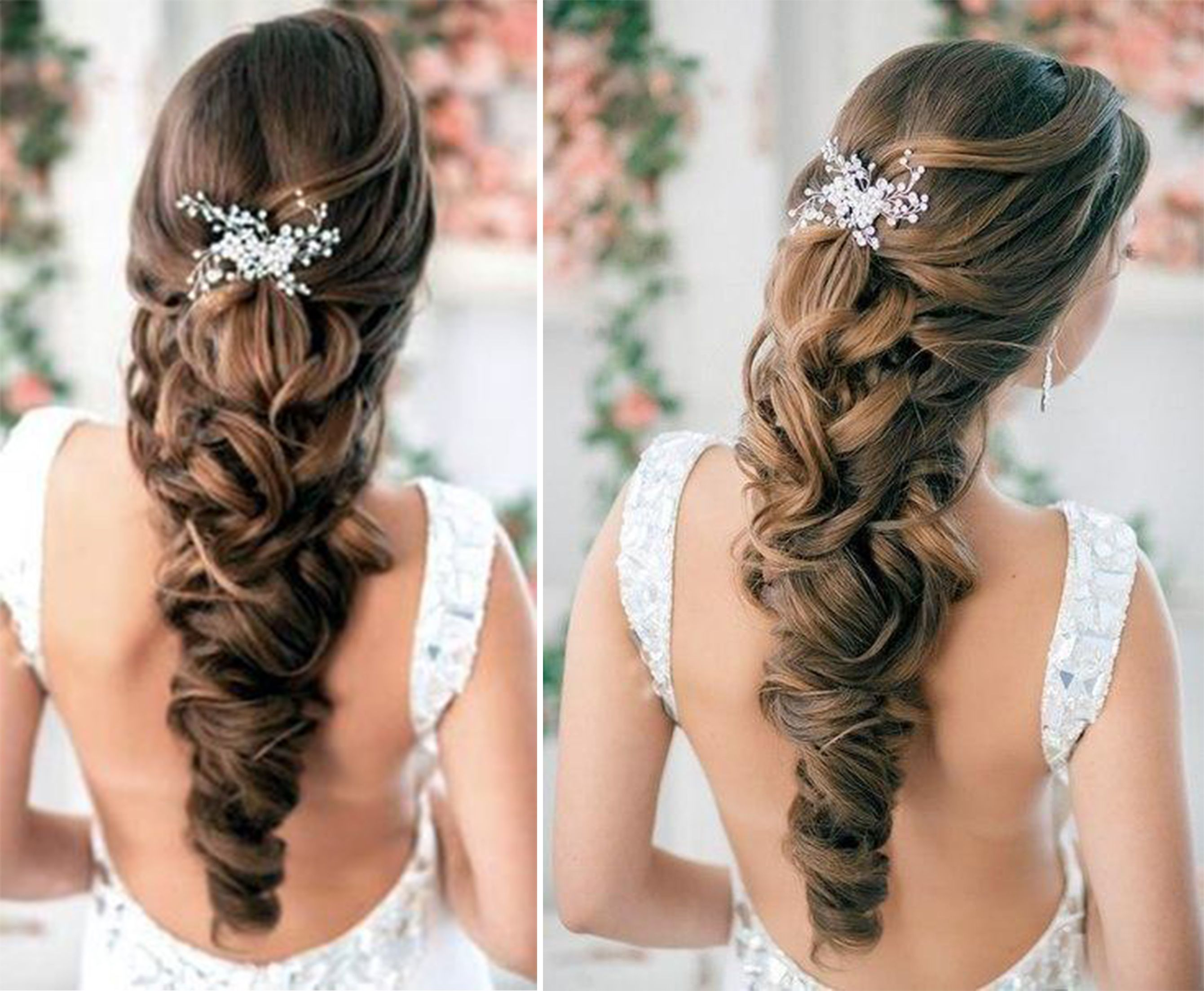 brunette bridal hair, half up, loose curls, pulled back