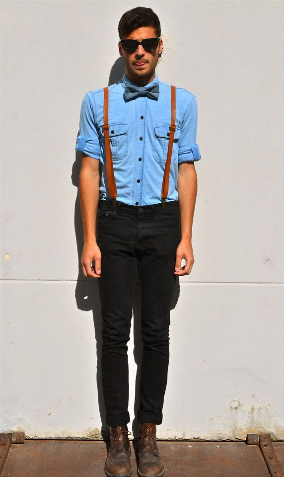 mens braces with black jeans and blue shirt