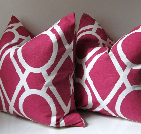 Set of Two - Pink Lattice - Decorative Pillow Covers - 20 inch ...