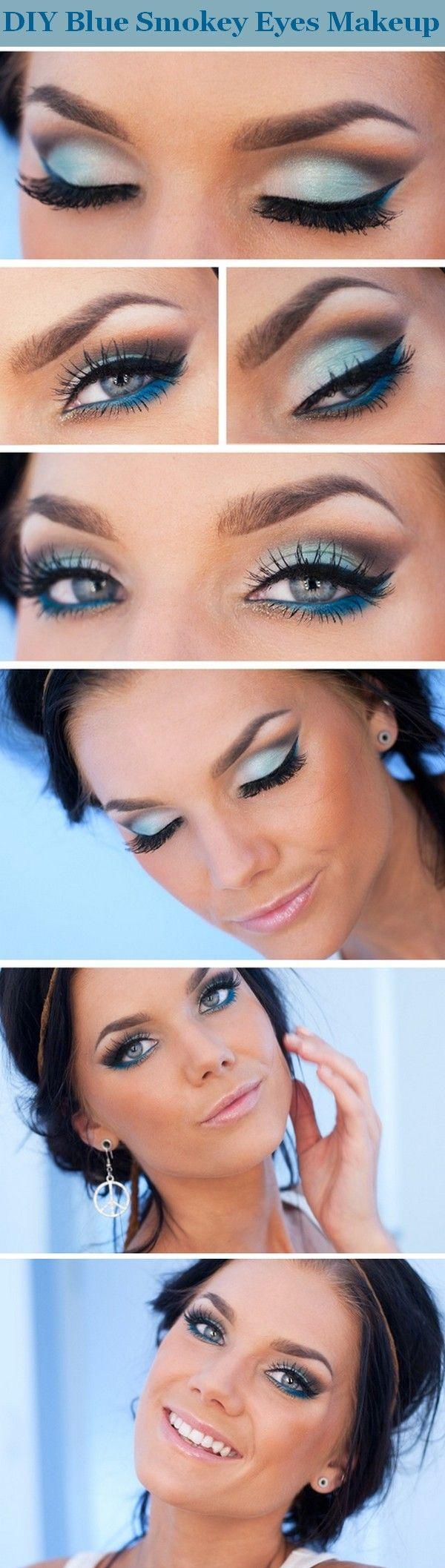 Blue smokey eyes. Wedding makeup blue, Makeup tutorial
