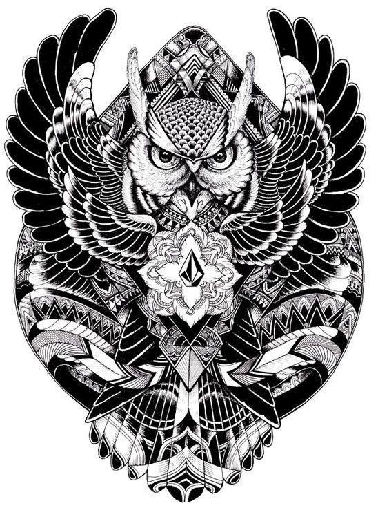 Черно белый эскиз тату с цветами: Черно-белый эскиз совы #polynesiantattoossleeve