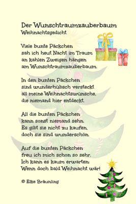 Der Wunschtraumzauberbaum Elkes Kindergeschichten Weihnachtsgedichte Weihnachtsgedicht Kinder Gedicht Weihnachten