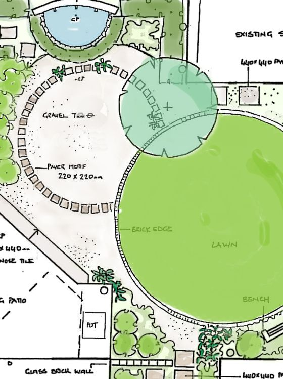 Lawn As Part Of Sequence Of Circles In Many Materials. Circular Landscape  Plan · Garden Design ...