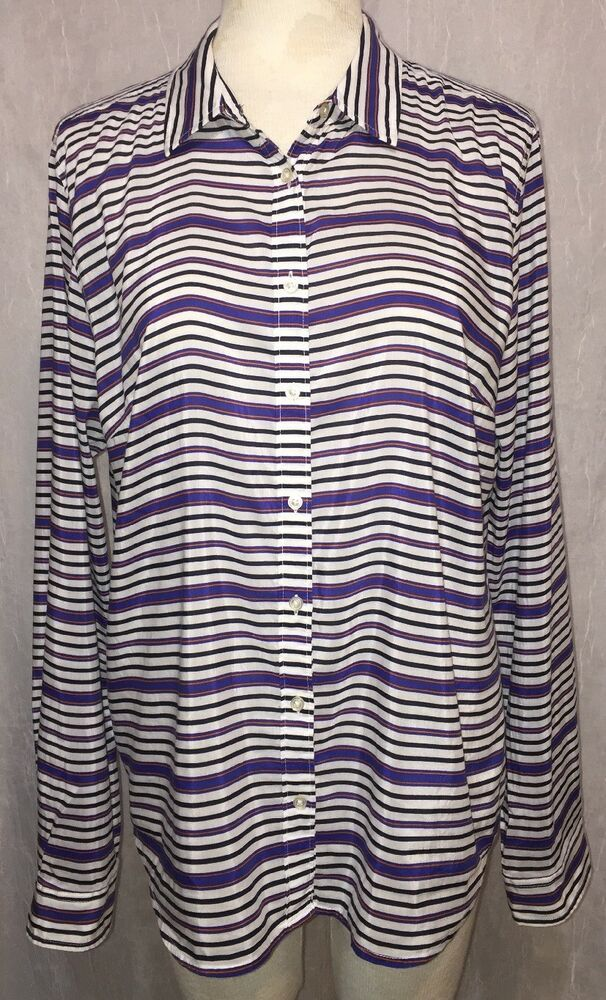 516f4a125da JCP Sz XL Silk Cotton Shirt Blue White Orange Striped JC Penney Button  Front Top  JCP  Blouse  Casual