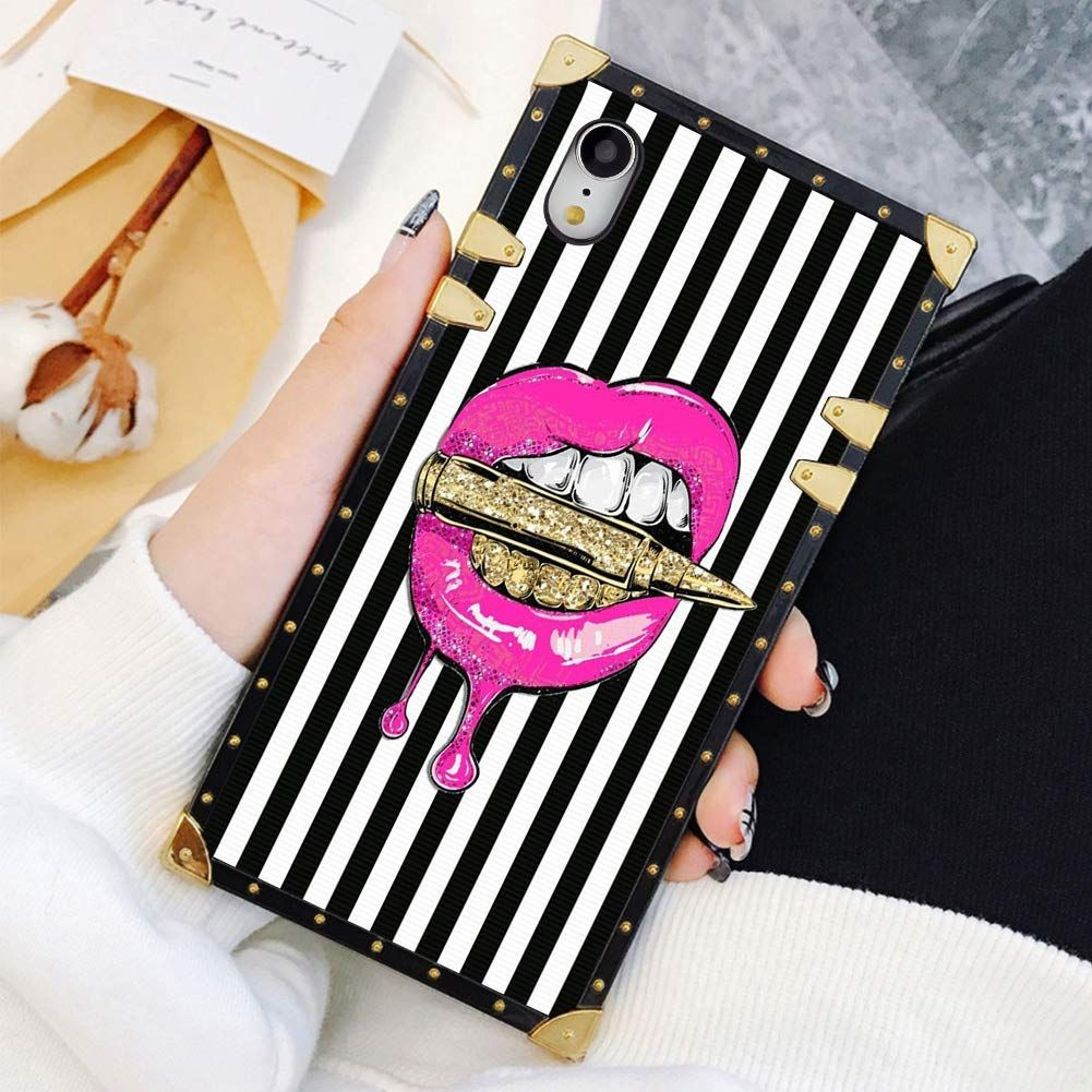 Square Case Compatible iPhone XR Pink Lips in Bullet