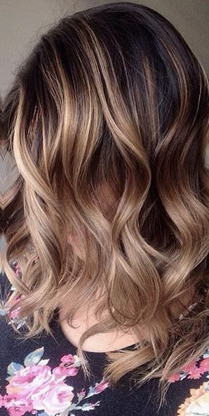 Caramel latte brunette, ordered with an extra shot of blonde balayage highlights.