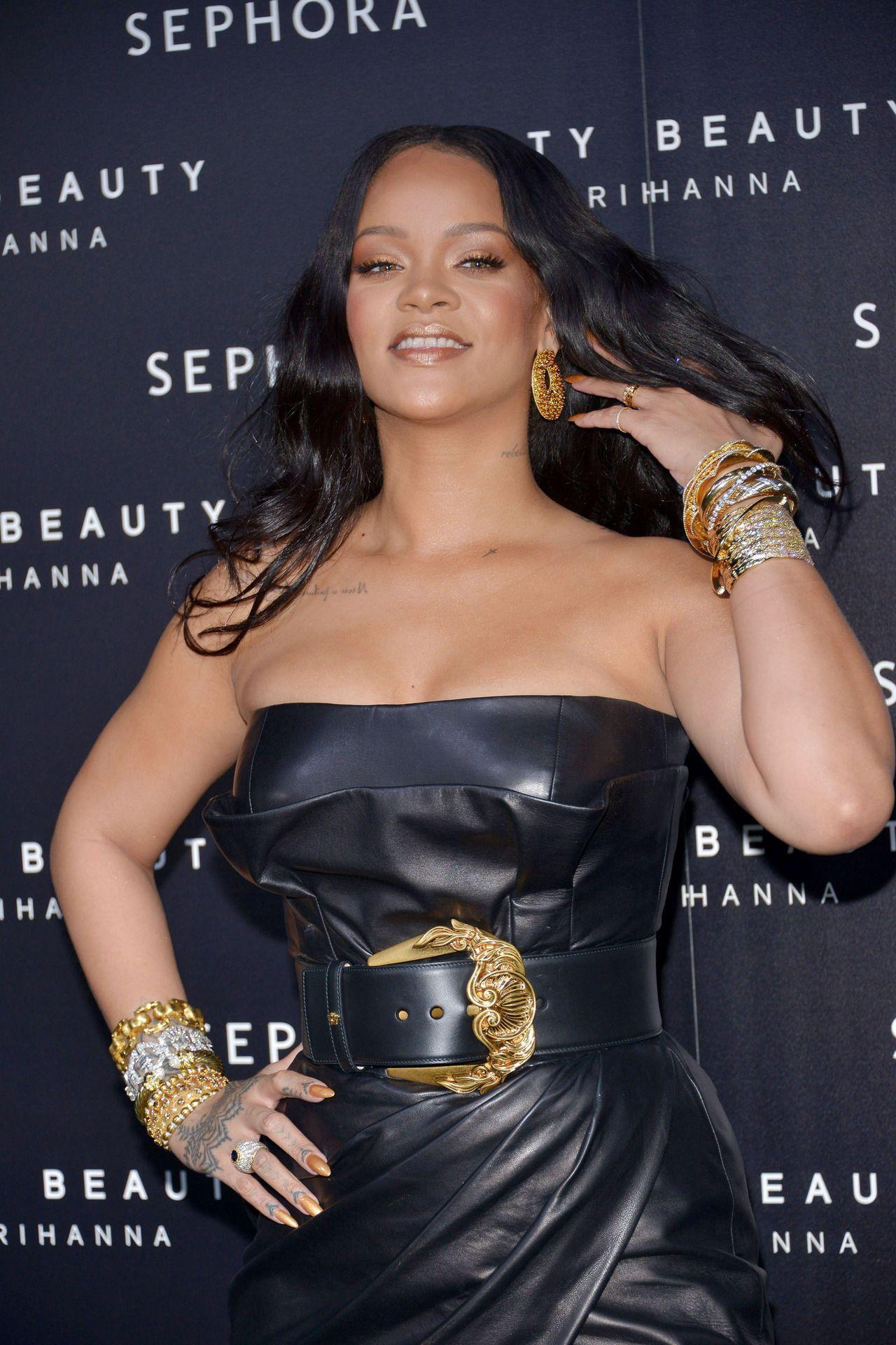 Rihanna attends the ufentyu by rihanna makeup launch on april