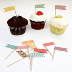 Free printable cupcake topper flags.