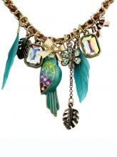 Green Heart Feather Gold Chain Necklace $13.84