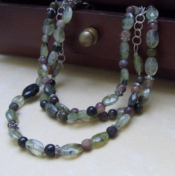 Green Multi Strand Necklace  Garnet and Tourmaline by AKVjewelry, $125.00